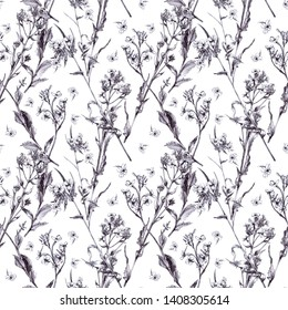 Artistic hand-drawing of flowers hesperis. Black liner on white paper. Seamless pattern. Design wallpaper, textiles, covers, fabrics, packaging, wrapping paper, backgrounds.