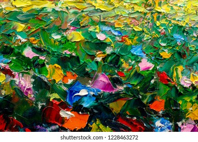 Artistic handmade impasto texture closeup oil painting. Abctract structure brushwork pallete knife painted on canvas