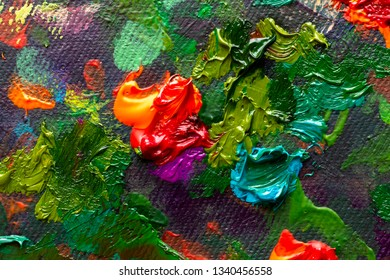 Artistic handmade impasto texture closeup red flowers oil painting. Abctract structure brushwork pallete knife painted on canvas
