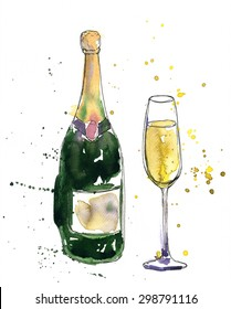 artistic illustration of alcohol drink, champagne bottle and glass, drawing by watercolor and ink, hand drawn image