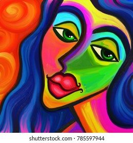 Artistic illustration of a forlorn looking female face painted with bright abstract color strokes..