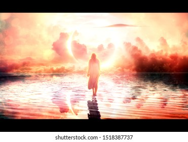 Artistic illustration of a spirit walking on water to the bright light in the sky towards the heaven