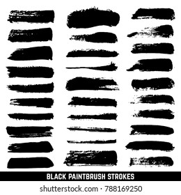 artistic ink paint blob brushes. Inked brushed strokes isolated. Dirty black brushstrokes collection. Illustration paintbrush drawing ink stroke