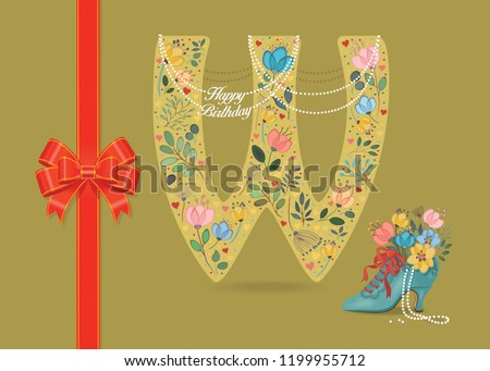 artistic letter w with folk botanical decor watercolor flowers and hearts big red bow