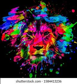 artistic lion on black background