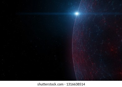 Artistic network cyberspace globe with sunlight flare. 3d illustration background. View from space.