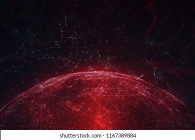 Artistic network data sphere with lines and dots illustration background. View from space. Selective focus used.
