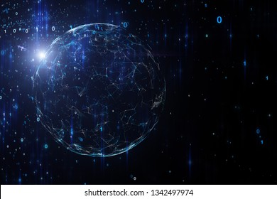 Artistic network globe with digital data cyberspace network illustration background.