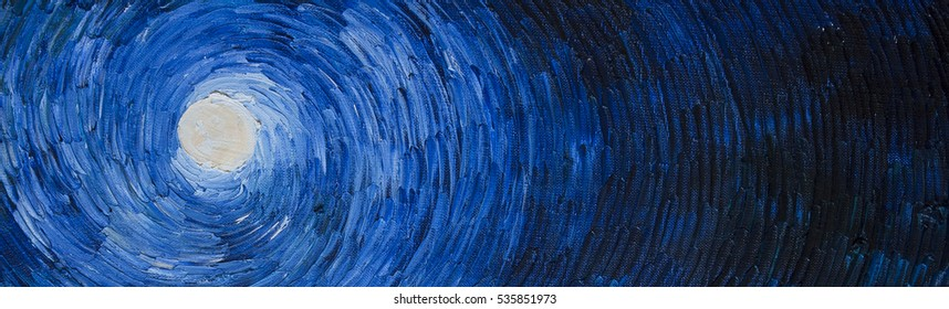 Artistic paint moon on the night sky. Blue background for astrology.