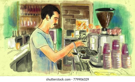 An artistic painting shows a bartender preparing coffee in an espresso machine in a cafe bar