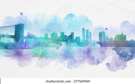 Artistic painting of skyscrapers in New York City with blots of blue and purple smudges and copy space