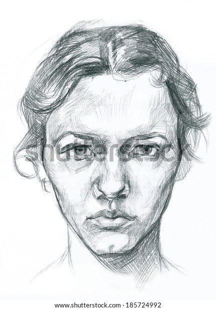 Artistic pencil drawn illustration portrait of a young woman`s face