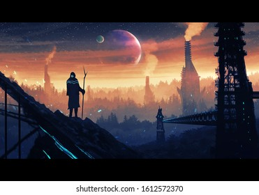 Artistic rendering illustration of a modern man on top of a hill looking at colorful sky above beautiful forest trees cut down for factories