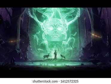 Artistic rendering illustration of a wizard in a cave with a dog and a deer taking instructions from his powerful master