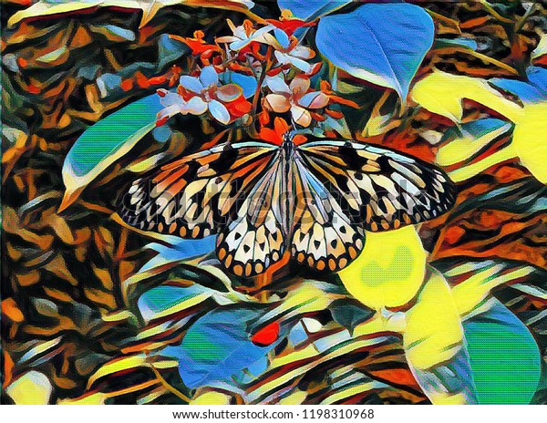 Artistic rendering of a large tree nymph (paper kite or rice paper) butterfly on a flowering plant surrounded by colourful leaves.