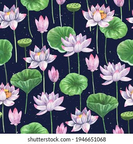 Artistic seamless patterns with watercolor painted lotus flowers and leaves for fabric and other design use.