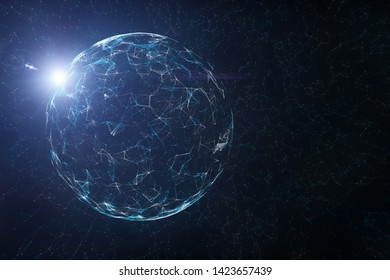 Artistic shiny sphere on conceptual technology and science cyberspace copy space background. 3d illustration.