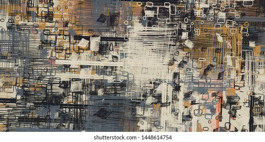 Artistic sketch draw backdrop material. Abstract geometric pattern. Chaos and random. Modern art drawing painting. 2d illustration. Digital texture wallpaper.