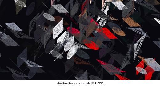 Die künstlerische Skizze zeichnet Hintergrundmaterial. Abstraktes geometrisches Muster. Chaos und Zufall. Modernes Malerei. 2. Abbildung. Digitales Hintergrundbild.