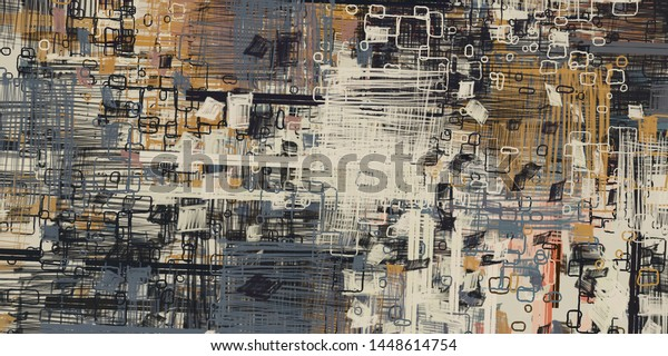 Abstract geometric pattern. Chaos and random. Modern art drawing painting. 2d illustration. Digital wallpaper mural.