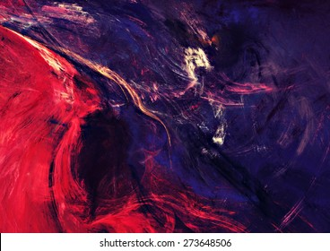 Artistic texture of bright color paints. Abstract dark purple background for creative design. Modern futuristic colorful pattern for wallpaper, album, flyer cover, poster. Fractal artwork