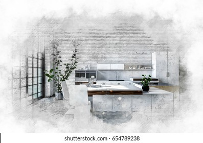 Artistic textured monochrome painting of a modern kitchen with fitted cabinets and bar counter surrounded by a light vignette. 3d rendering