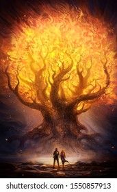 Artistic unique illustration of a fiery bright glowing tree in an abstract fantasy land