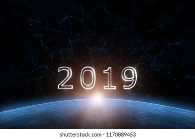 Artistic universe cyberspace with year 2019. Illustration background.