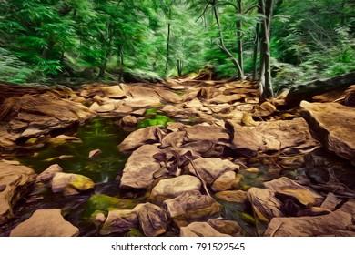 An artistic view of a creek of a creek deep in the woods along the Niagara Escarpment.