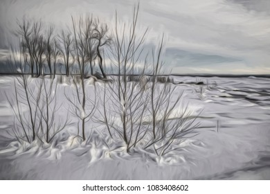 An artistic view of various trees along the shoreline of Lake Erie near Ridgeway, ON, after an overnight snowfall in early March. Artistic filtering add in post-processing