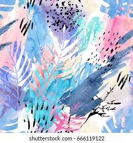 Artistic watercolor seamless pattern. Watercolour natural background with shabby tropical leaves, grunge texture, splatter, brush strokes. Hand drawn abstract floral illustration