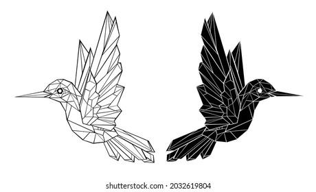 Artistically drawn, black contour, polygonal hummingbird on white background. Tattoo style.