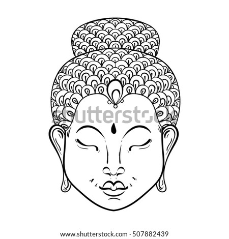 Artistically Portrait Of Buddha For Ornamental Adult Coloring Pages Buddhism Tattoo Art Ethnic Patterned