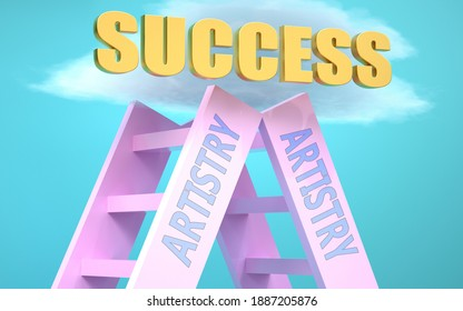 Artistry ladder that leads to success high in the sky, to symbolize that Artistry is a very important factor in reaching success in life and business., 3d illustration