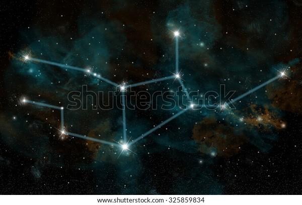 Artists Depiction Constellation Virgo Virgin One Stock Illustration