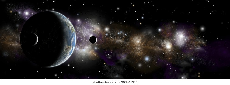 An artist's depiction of  an earth like planet alone in space with a pair of moons in orbit. A distant nebula serves as a backdrop.