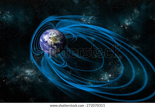 An artist's depiction of the magnetic lines of force surrounding Earth known as the magnetosphere. -  Elements of this image furnished by NASA