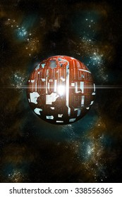 An artist's depiction of a theoretical Dyson Sphere. A structure built by an advanced Type 2 civilazation around a star to capture and use its energy.