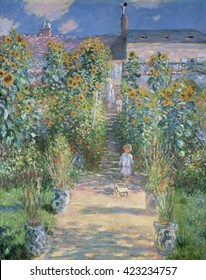 The Artist's Garden at Vetheuil, by Claude Monet, 1880, French impressionist painting, oil on canvas. This painting was painted less than a year after Camille Monet's death. Monet's two young childre