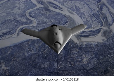 Artist's impression of a drone as it flies over over a frozen city in Far East Asia such as Russia or North Korea.