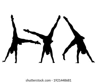 Artists on stage dance and raise their hands up. Isolated silhouettes on a white background