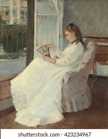 Artist's Sister at a Window, by Berthe Morisot, 1869, French impressionist painting, oil on canvas. Morisot painted many domestic interiors, and portraits of family and friends