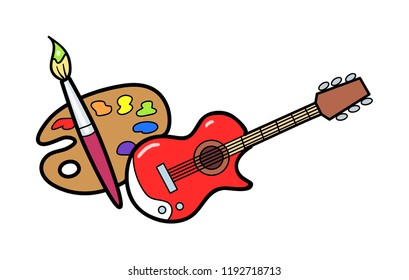 Arts Icon. A Guitar and Painters Palette Icon representing the Arts.