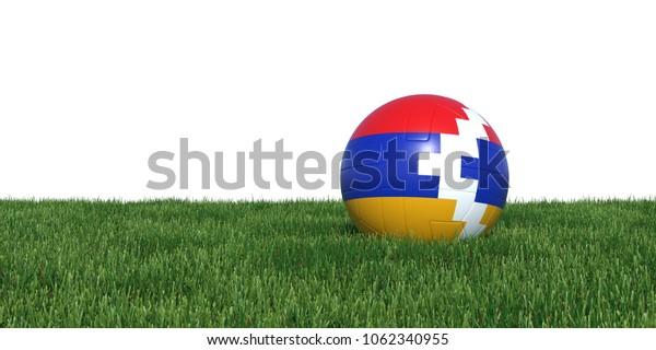 Artsakh Karabakh flag soccer ball lying in grass, isolated on white background. 3D Rendering, Illustration.