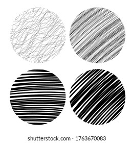 Artsy modern design elements with black drawn doodles and squiggles, stripes and lines in round circle shape collection