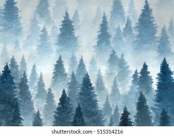 Artwork. Background painted with watercolor. Hand drawn landscape of foggy forest, winter hill. Wild nature, frozen, misty, taiga. Fantasy landscape