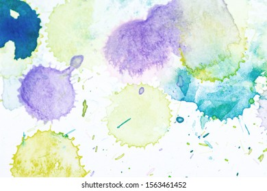 Artwork. Close up of blue watercolor painting art background, Abstract watercolor painting art. Hand drawing in color green on cool toned. Watercolor texture for card or creative banner design. yellow