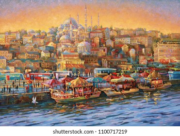 Artwork. Evening in Istanbul. Golden Horn Bay. Author: Nikolay Sivenkov.