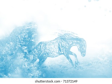 artwork of liquid horse jumps and runs in water