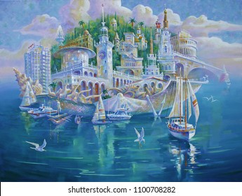 Artwork. Sochi is the pearl of Russia. Author: Nikolay Sivenkov.